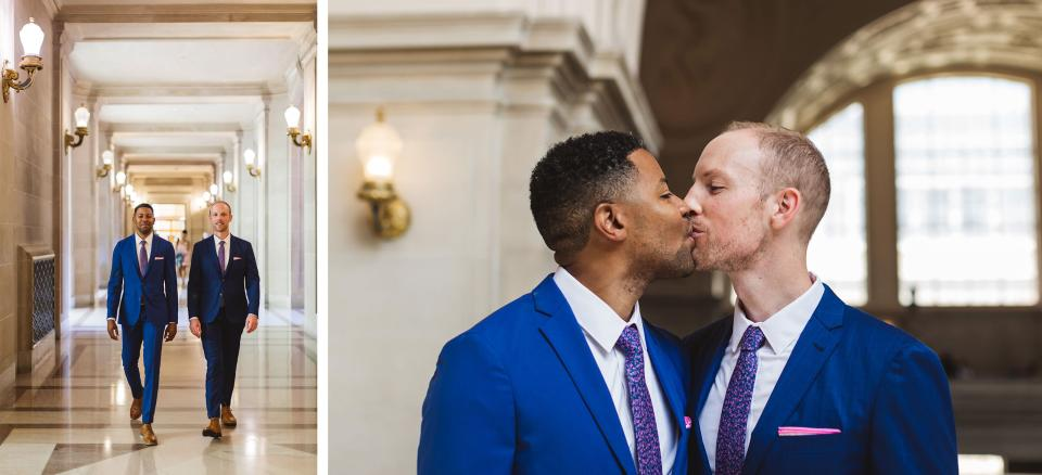 same sex gay male couple entering San Francisco City Hall for their wedding