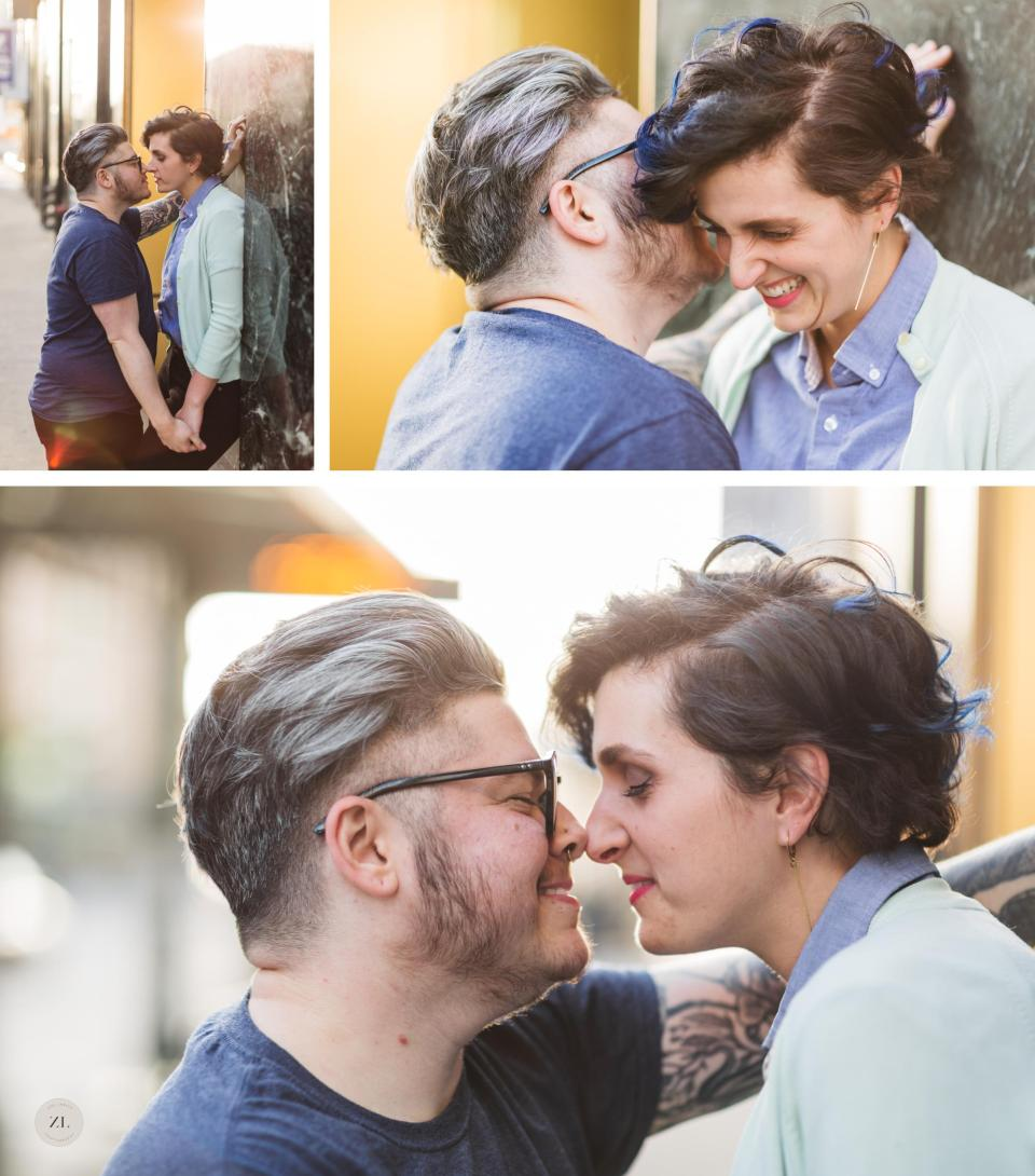 LGBTQ+ couples photography snuggling and eskimo kisses close up