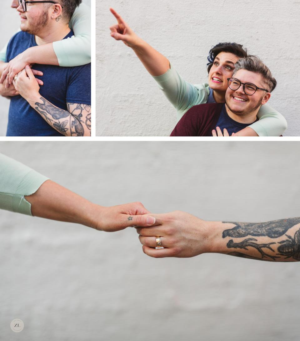 close ups of tattoos during LGBTQ+ oakland engagement session