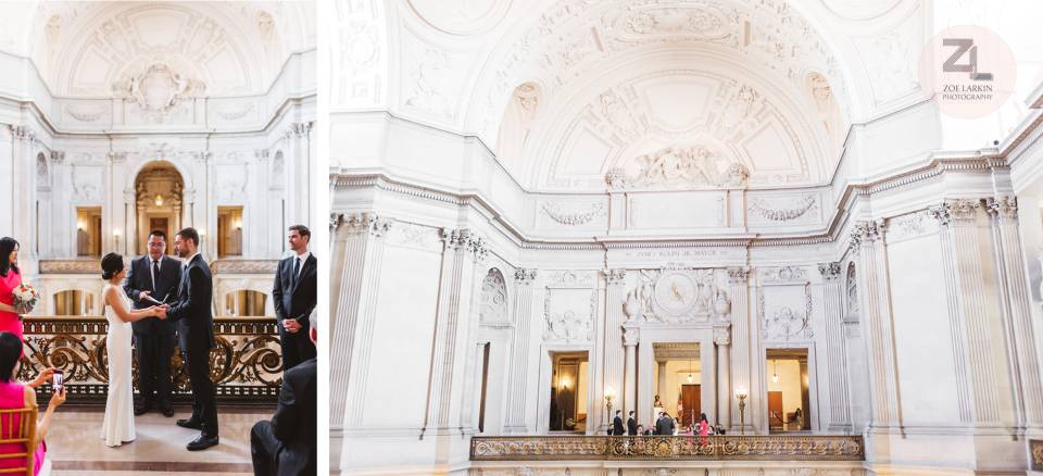 Mayor's Balcony wedding from afar at sf city hall