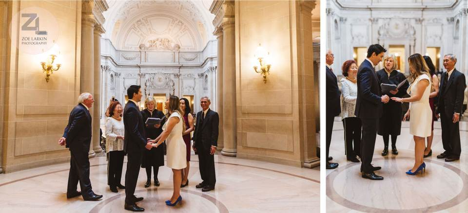 a classic typical san francisco city hall wedding taking place in the rotunda