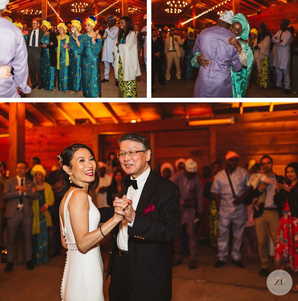 parent dances in barn at cornerstone sonoma wedding during reception