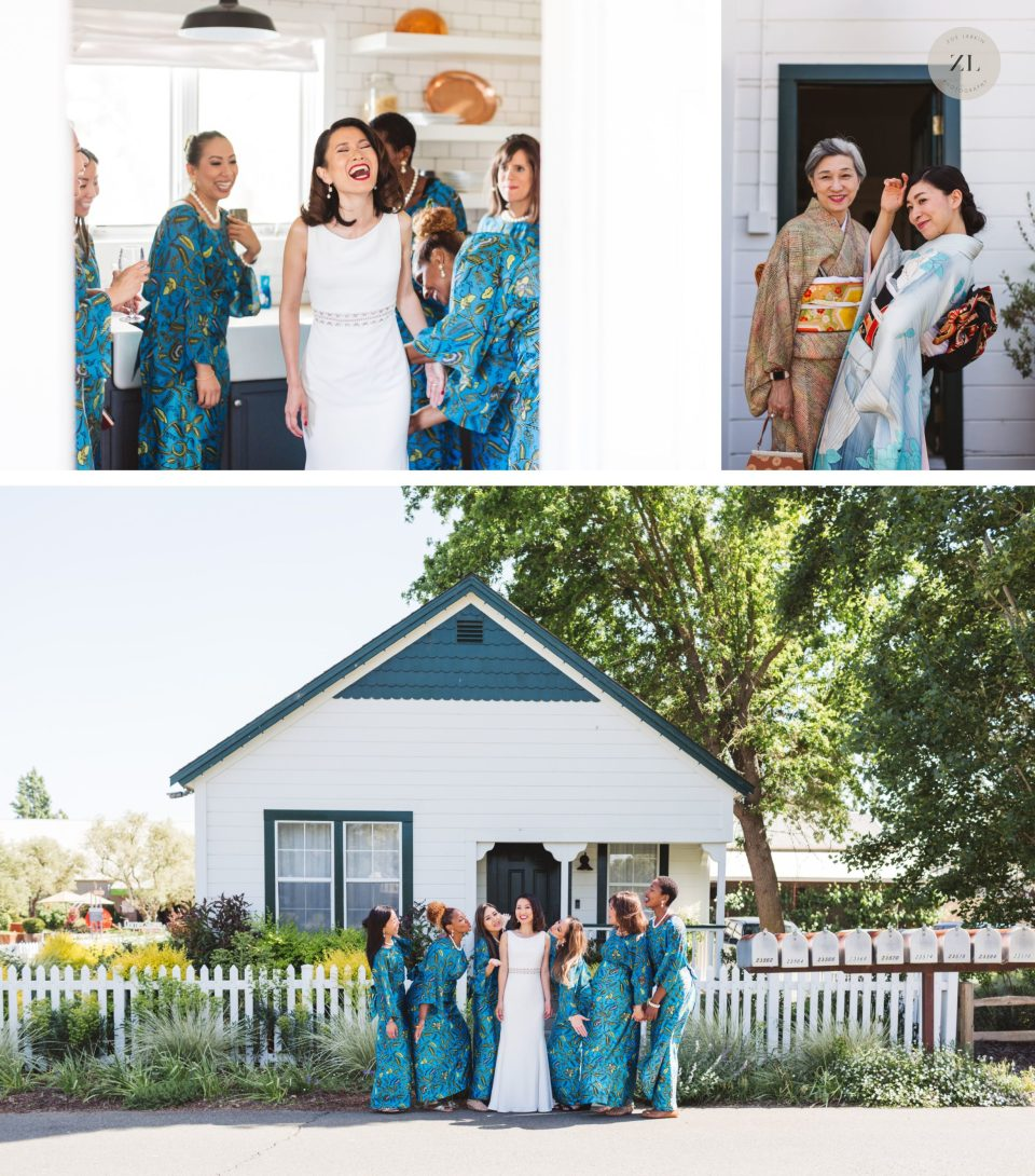 bride with bridemaids in cottage - cornerstone sonoma wedding photos