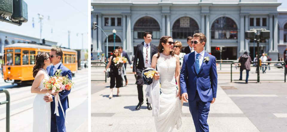 wedding couple crossing embarcadero at the ferry building in sf