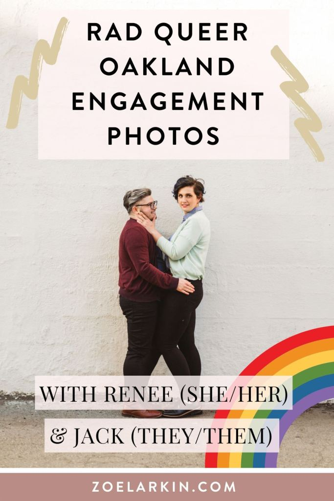 🏳️‍🌈 Totally rad engagement shoot in downtown oakland with this queer-forward Oakland couple. 🌈 Renee, Jack and I frolicked in their home while they spun some records with their large cats, then around their neighborhood. 🦄 After crossing rainbow crosswalks we finished up at the Fox Theater's iconic Oakland sign - a must-take for your Oakland engagement shoot! | #queerforward #oakland #engagementphotos #lgbtq | Zoe Larkin Photography