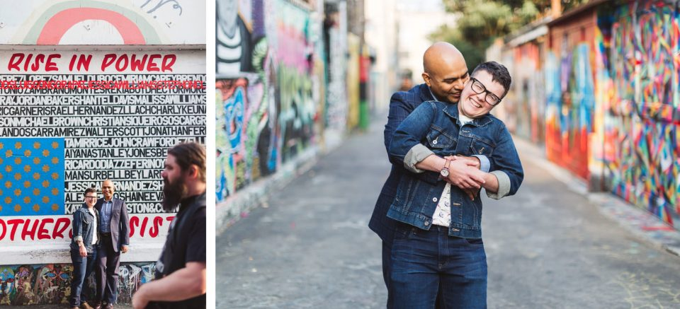 couple in clarion alley as a shoot location close to san francisco city hall after wedding
