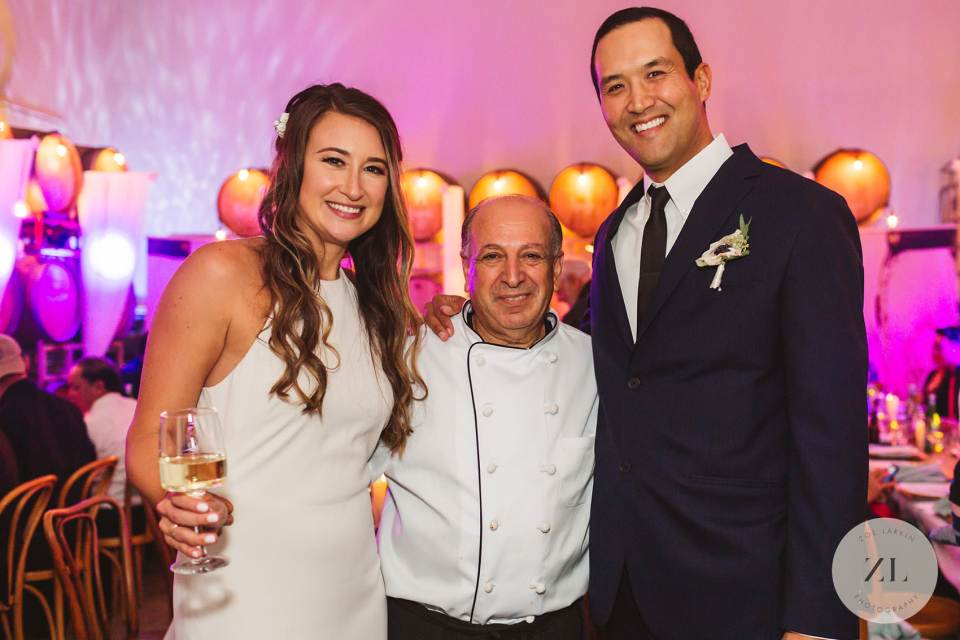 Cafe Savini owner george Elhihi with a catering client on their wedding day