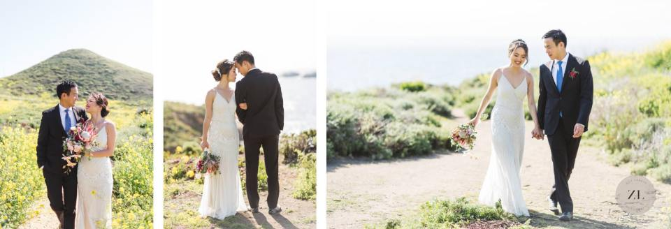carmel beach portraits for a wedding day photoshoot with Asian couple by Zoe Larkin Photography