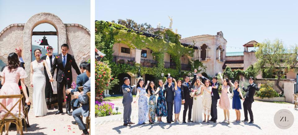 fun group photos with chateau carmel wedding guests