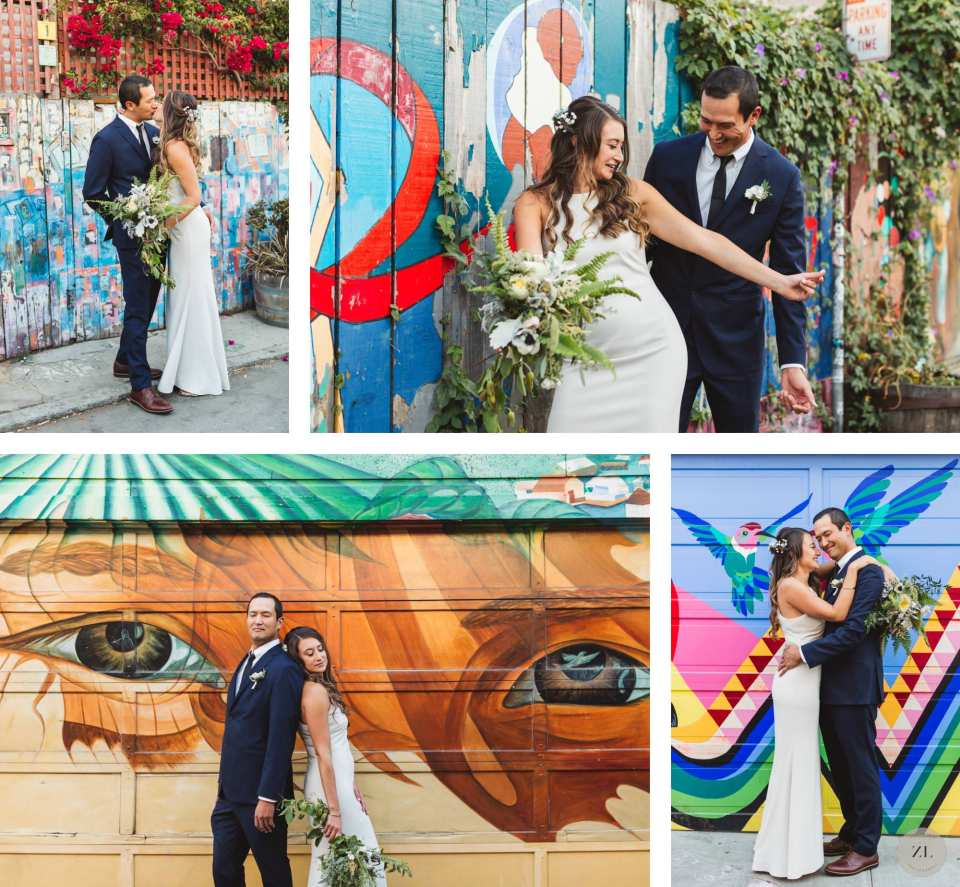 couples' wedding portraits in Balmy Alley with street murals in background