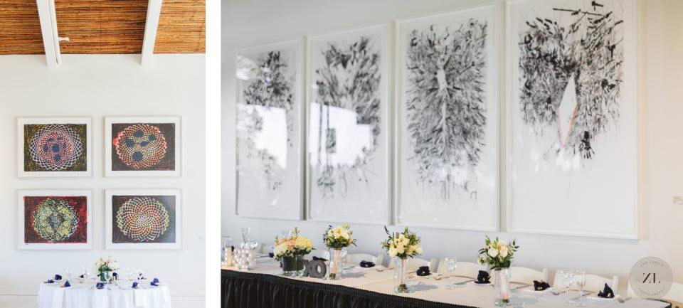 Quadrus Conference Center wedding spaces - artwork in the dining area