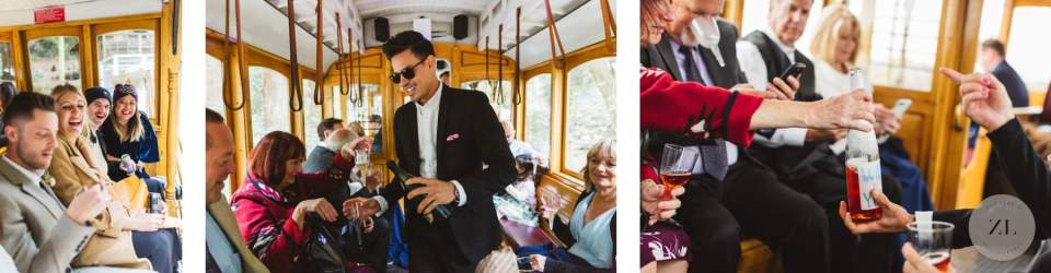 fun trolley photos on wedding day in san francisco