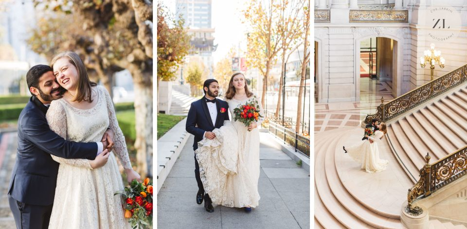 Couple walking outside San Francisco City Hall showing how to get natural, not awkward photos on your wedding day with Zoe Larkin Photography