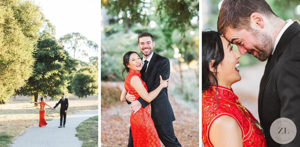 San Francisco wedding photography couple's session in a park to illustrate how to get non-awkward, happy wedding photography