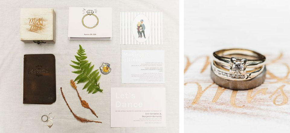 Wedding details at Stern Grove wedding including a leather vow book, custom enamel pins and vintage rings