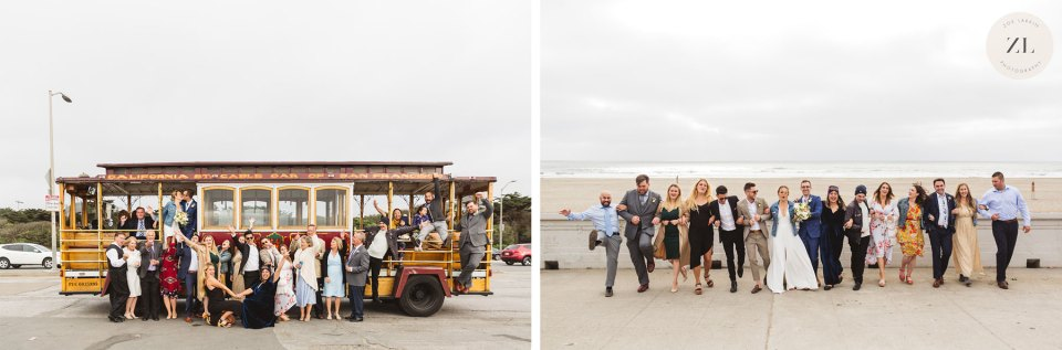 wedding group having fun with the Hornblower Trolley on Ocean Beach, SF - Zoe Larkin Photography
