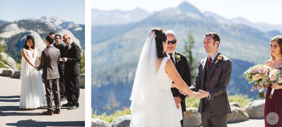 Glacier Point Amphitheater Wedding ceremony photos by Zoe Larkin Photography