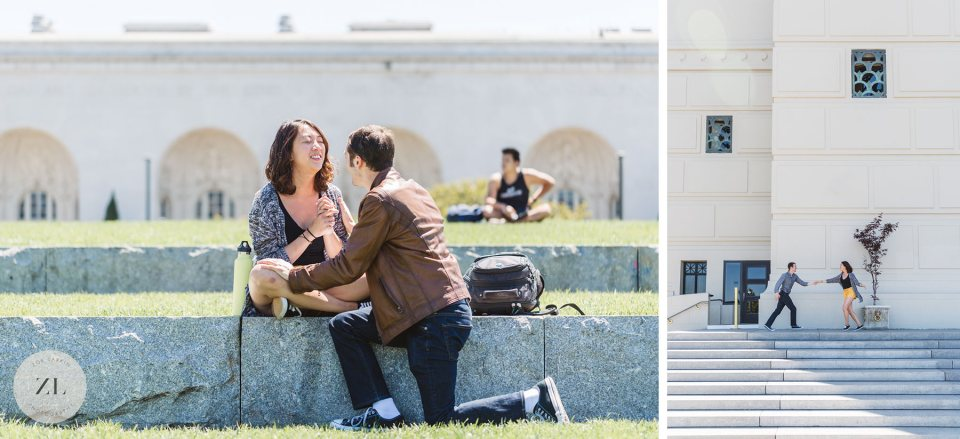 proposal at Lake Merritt Amphitheater before this couple's Yosemite wedding