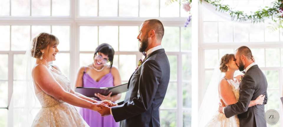 laughing couple at Monte verde Inn indoor wedding ceremony. Zoe Larkin Photography