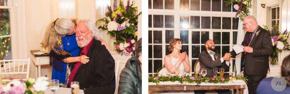 indoor wedding speeches and toasts - Monte Verde Inn wedding by Zoe Larkin Photography