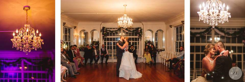indoor first dance at wedding. Monte Verde Inn