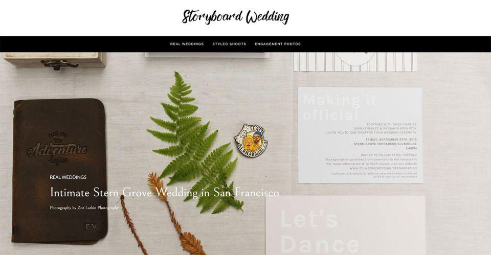Stern Grove wedding featured on Storyboard Wedding magazine