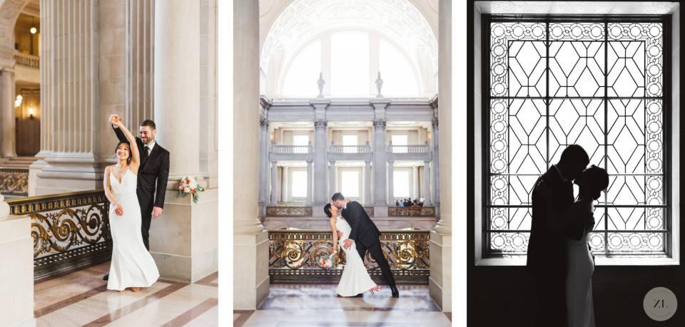 wedding couple photos around san francisco city hall