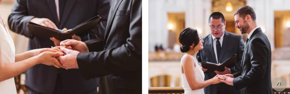 couple's formal Mayor's balcony wedding ceremony photos