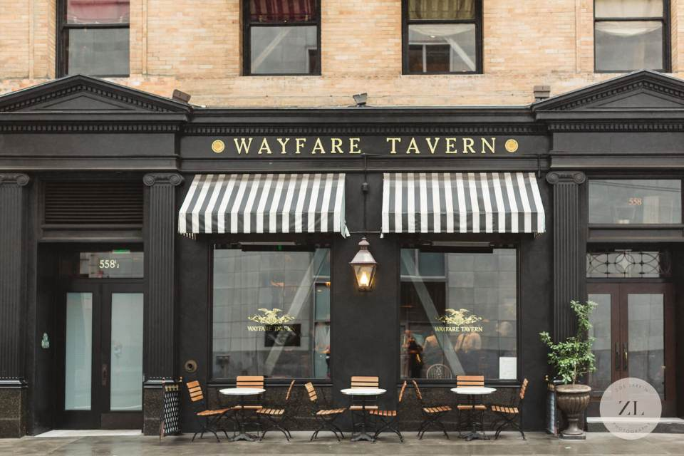 The highly instagrammable exterior of the Wayfare Tavern, a great place to eat after San Francisco City Hall wedding