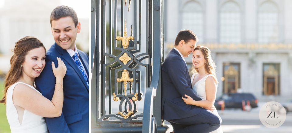 newlywed photos at the back of San Francisco city hall