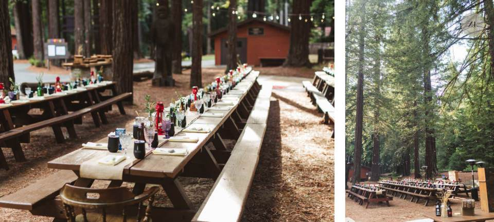 long tables set for wedding - Camp Mendocino Wedding photos