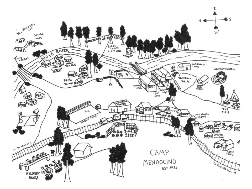 Map of Camp Mendocino handdrawn