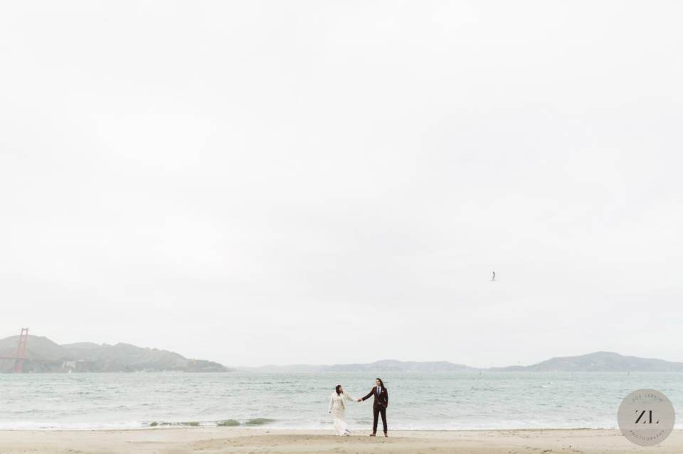 epic wide shot of San Francisco beach wedding