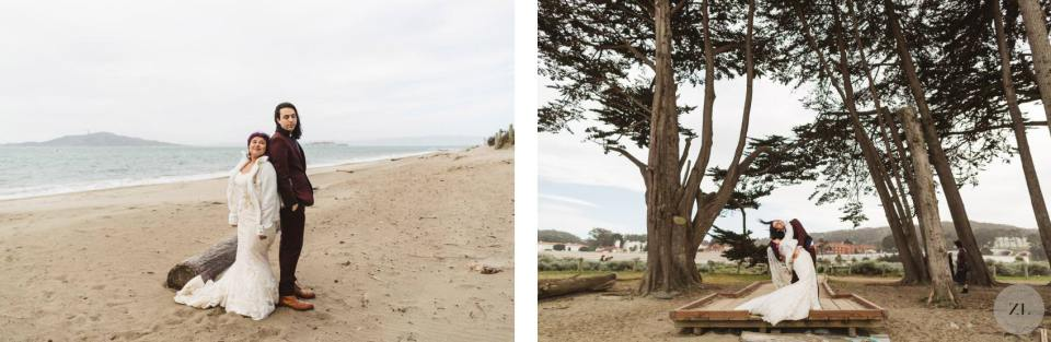 candid photos from Crissy Field elopement wedding
