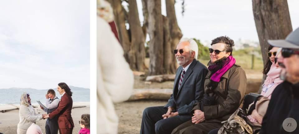 guests watching Crissy Field beach elopement wedding