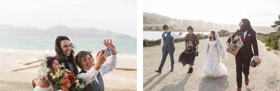 leaving their Crissy Field Beach elopement wedding