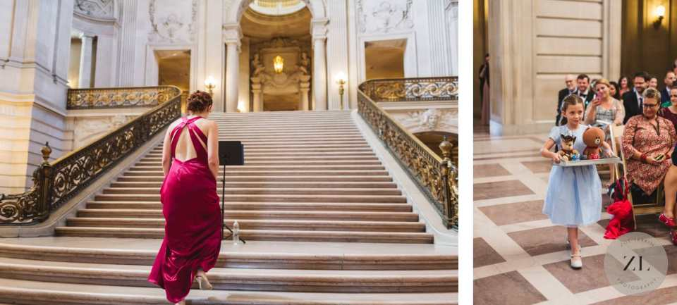 officiant ascending staircase at saturday buyout of sf city hall