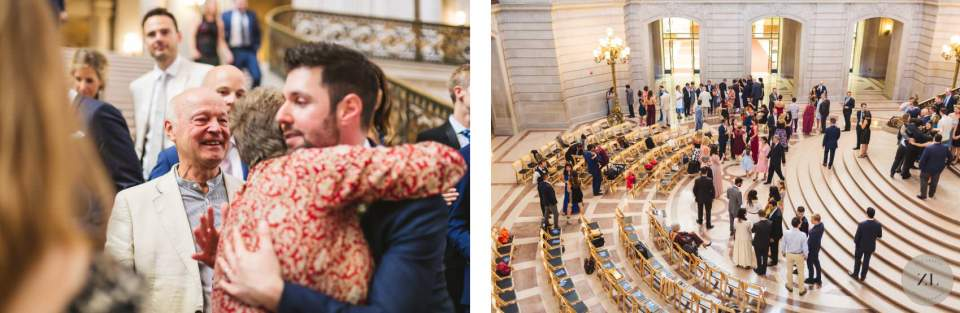 candid shots of guests mingling at San Francisco City Hall cocktail hour