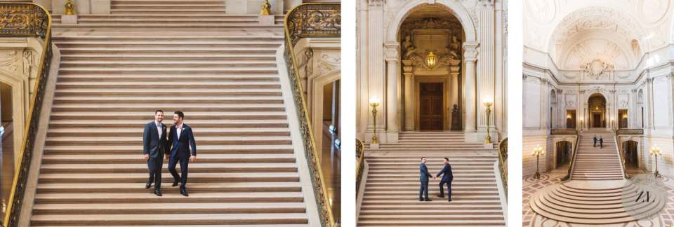 couple on grand staircase of San Francisco City Hall before their Saturday wedding