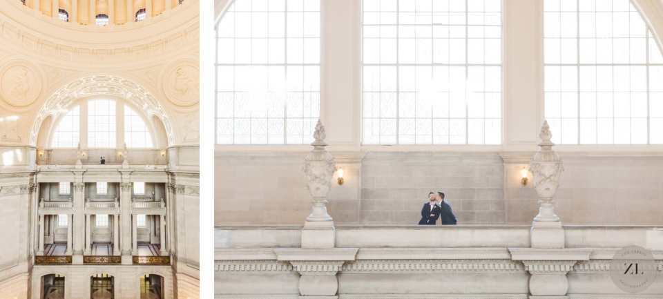 4th floor couples' portrait at San Francisco City Hall wedding