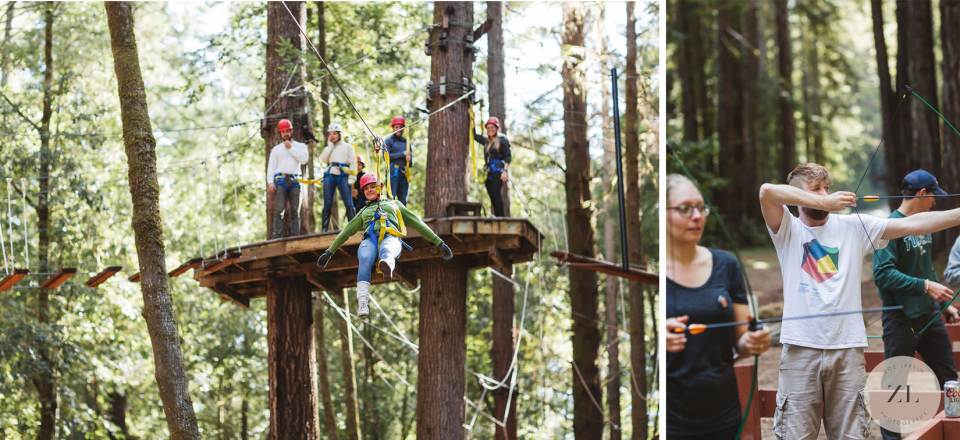 ziplining and archery at camp mendocino activity wedding