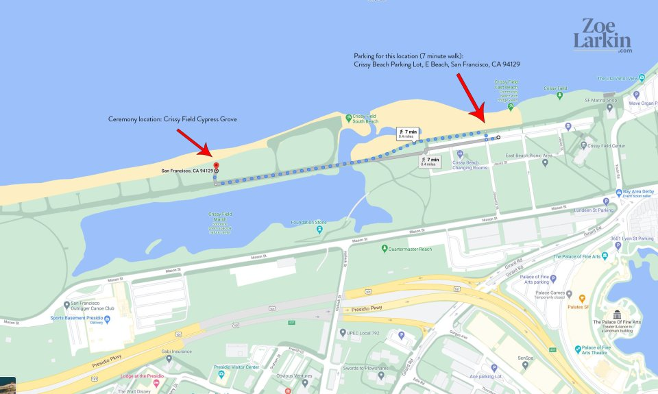 map showing how to get to the crissy field cypress grove for weddings