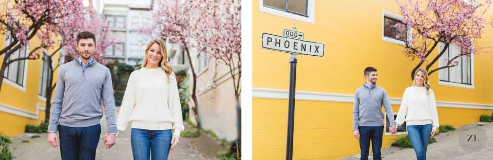 Blossom engagement photos on Phoenix in Pacific Heights neighborhood, San Francisco CA