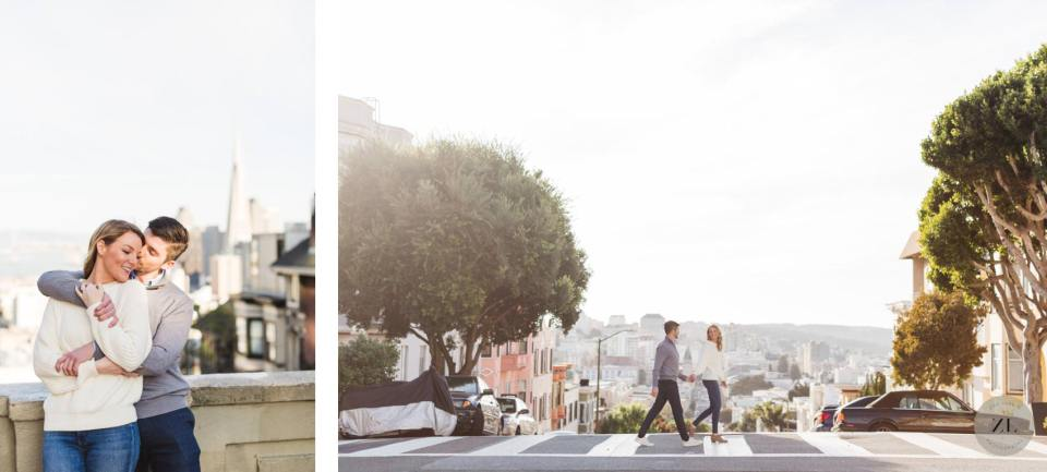 engagement photography - Pacific Heights neighborhood, San Francisco couple crossing the street