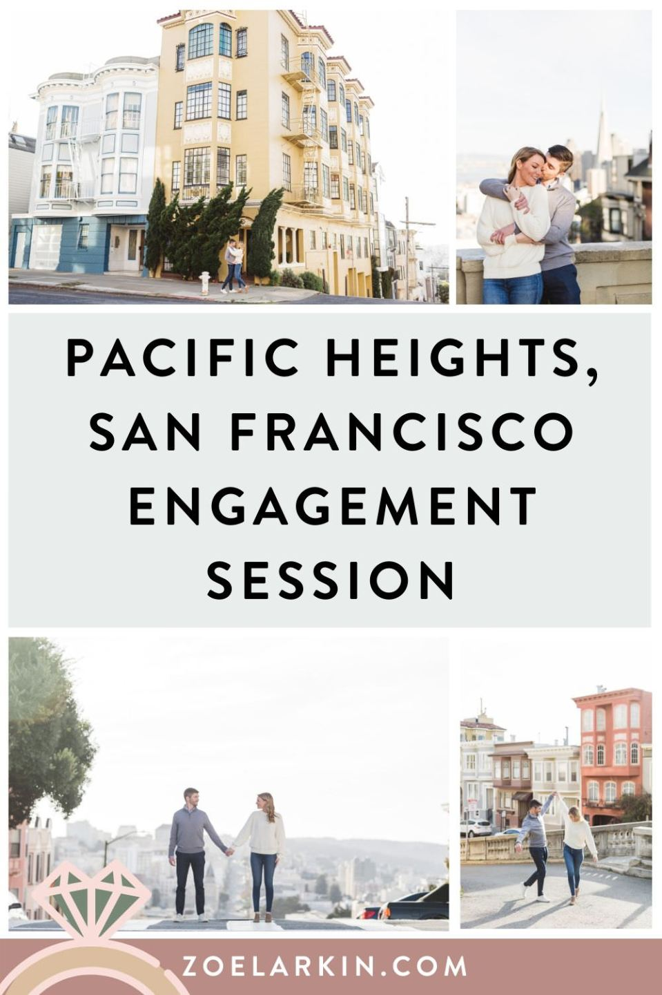 Gorgeous Pacific Heights engagement photography! Stunning engagement photography session in Pacific Heights neighborhood of San Francisco on a gorgeous spring evening with ultra cute couple, Andrea and Mason. Enjoy these inspiration images for your San Francisco engagement session and get in touch to book your own SF engagement shoot! #engagementphotography #sanfranciscoengagement | Zoe Larkin Photography