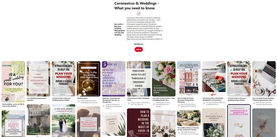 Pinterest board - coronavirus weddings and how to navigate rescheduled weddings