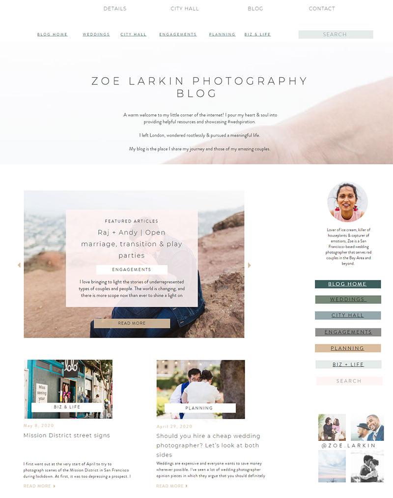 Screenshot of blog of wedding photographer - example blog of wedding photographer