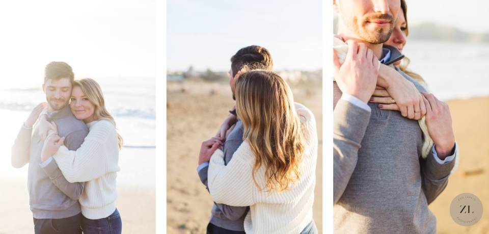 cute couple snuggling at their Baker Beach engagement shoot with Zoe Larkin