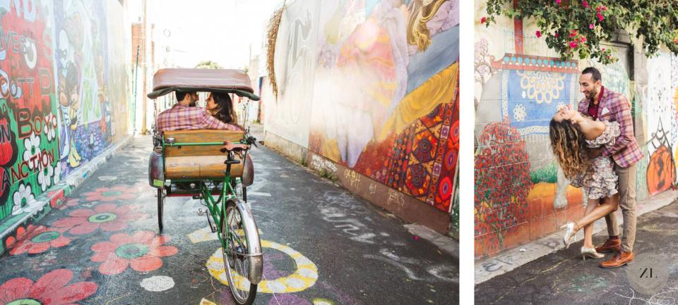 Wedding couple embracing on Clarion Alley in Mission District after City Hall wedding