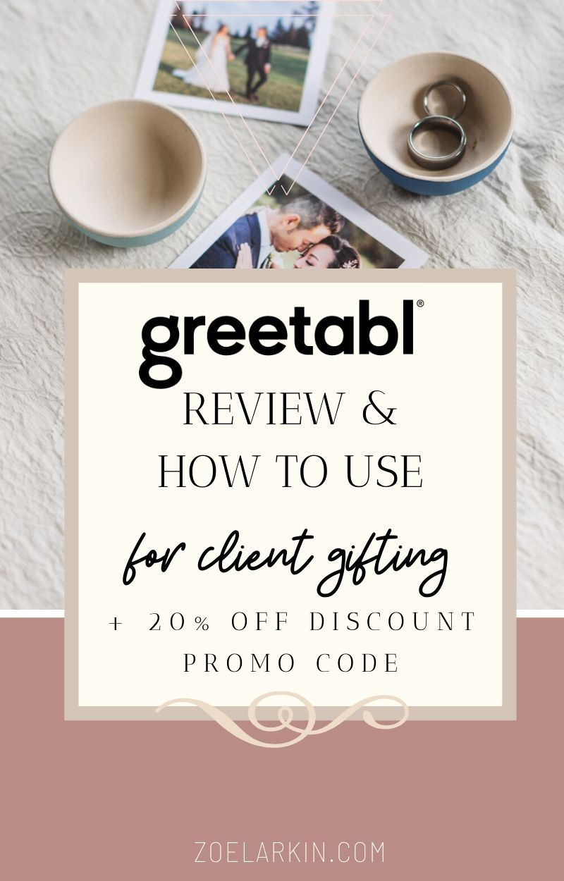 Greetabl Review & how to use for client gifting (20% off code) |  Wondering what you can send to a friend (or client) in the mail? I've been a raving fan of Greetabl, the gifting service for a couple of years now. As a wedding photographer, I use Greetabl for client gifting, and I love it!  It takes the friction out of gift-giving and gives you back the pure joy of making someone smile with an affordable and customized gift that suits both their personality and the occasion | zoelarkin.com